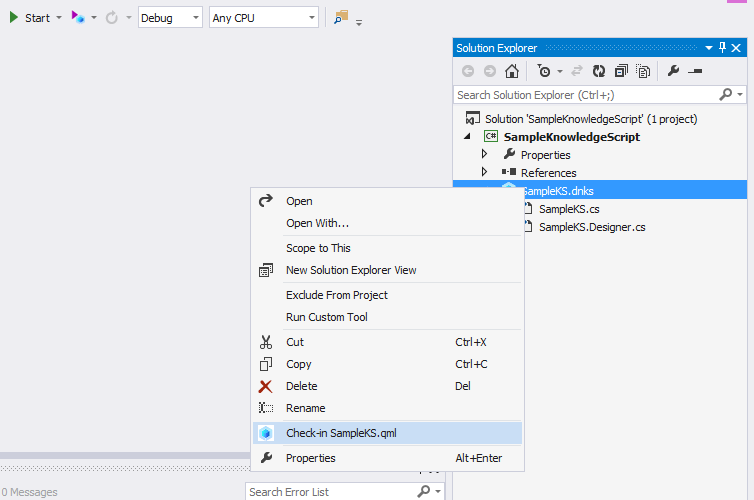 Check-in from Visual Studio IDE